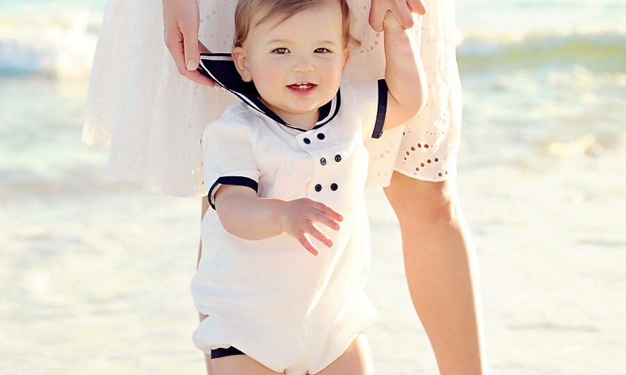 baby on the beach in South Walton County near Seaside and Grayton Beach in Florida.